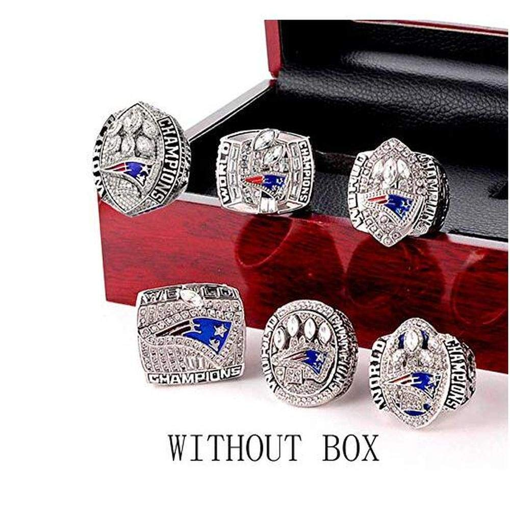 Akay&Tina New England Patriots Rings Set 6 Years,Super Bowl 2001-2019 Championship Replica Rings Size 9-13 (with Box) (06)