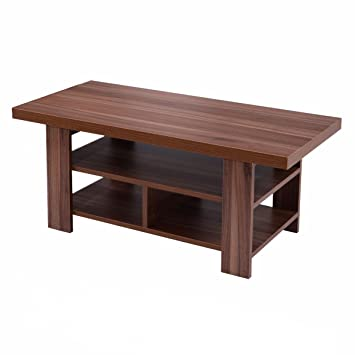 Amazon.com: Giantex Wood Coffee Table Rectangle Modern Living Room ...