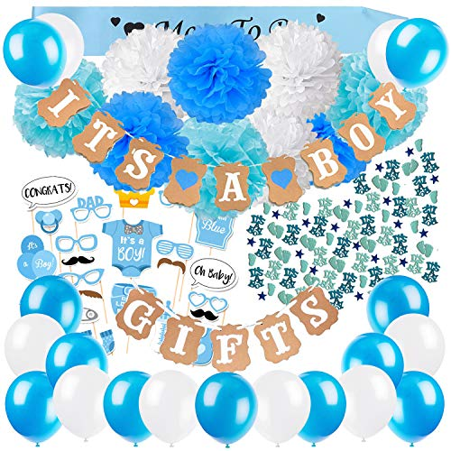 (ZERODECO Baby Shower Decorations for Boys with It's a Boy and Gifts Banners Blue Sash Paper Pom Poms Balloons Cute Photo Booth Props Baby Shower Confetti )