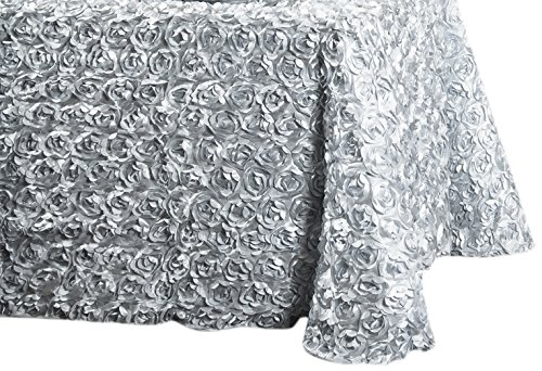LinenTablecloth Rosette Satin Rectangular Tablecloth, 88 by 130-Inch, Silver ()