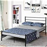 Metal Bed Frame Iron Queen Size Decor Steel Base Legs with Headboard and Footboard Platform Slats Legs Cover Black 628 (Queen)