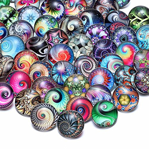 50 PCS Snap Jewelry Charms Glass Snap Button Set Fancy DIY Accessories for Crafts Sewing Arcade Women (KZHM065)
