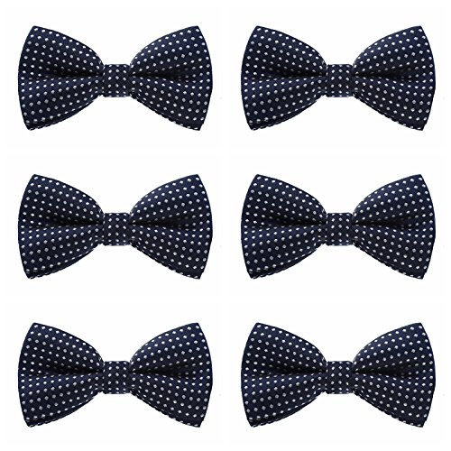 Boys Polka Dots Bow Ties - 6 Pack of Double Layer Adjustable Pre Tied Bowties (Navy Blue) by Kajeer