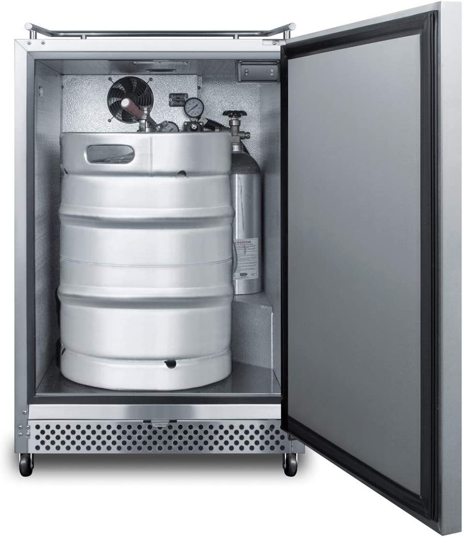 Auto Defrost and Stainless Steel Exterior Summit Appliance SBC695OSNK Outdoor//Indoor Commercial Beer Dispenser for Built-in or Freestanding Use with Digital Thermostat No Tap Kit Included