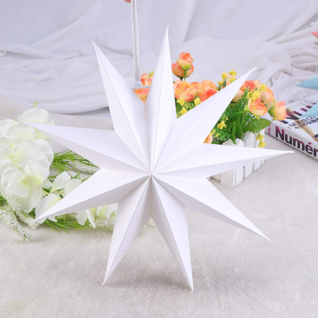 Mobestech 2pcs /étoiles papier lanterne pliable abat-jour de no/ël suspendu /étoile lanterne pour d/écor de f/ête /à la maison 30 cm