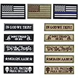 Creatrill Bundle 13 pieces USA Flag Patch Thin Blue Line Tactical American Flag US United States of America Military Morale Patches Set for Caps,Bags,Backpacks,Tactical Vest,Military Uniforms