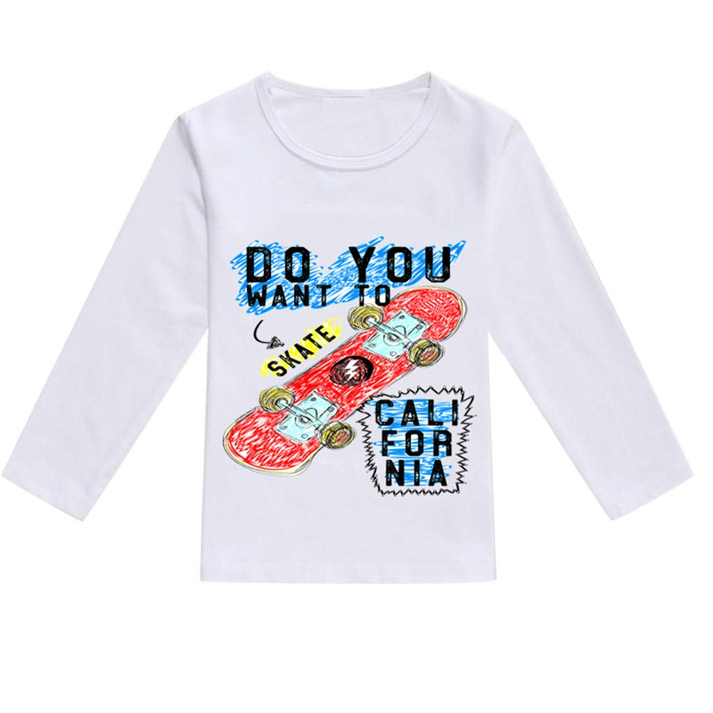 NUWFOR Toddler Baby Kids Boys Girls Spring Cartoon Print Tops T-Shirt Casual Clothes(Orange,12-18 Months)