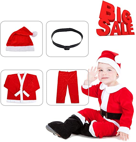 a7a15ffc3 Kids Boys Christmas Santa Costume Set Red Velvet with Santa Hat and Belt  Y020