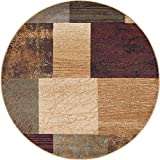 Augusta Contemporary Geometric Multi-Color Round Area Rug, 5′ Round Review