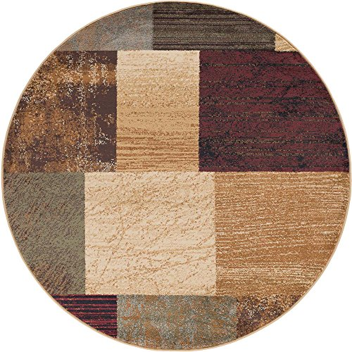 Augusta Contemporary Geometric Multi-Color Round Area Rug, 8' Round