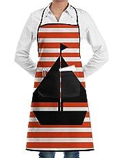 Grembiule da cuoco regolabile per barca a vela con linea bianca e rossa Conveniente griglia tascabile e grembiuli unisex resistenti all'acqua