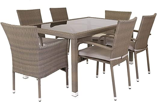 Conjunto de Mesa y sillas de jardín marrón de plástico - LOLAhome: Amazon.es: Juguetes y juegos