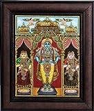 Shri Krishna with Rukmini and Satyabhama (Framed) - Tanjore Painting - Traditional Colors