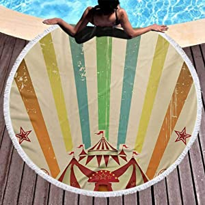 """Round Beach Throw Tapestry Vintage Rainbow Round Picnic Mat Old Circus Carnival Advertisement Theme Stripes Stars and Fun Fair Tent Towels Blanket for Travel Pool Swimming Bat (Diameter 59"""")"""