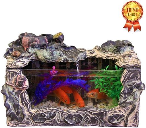 MonthYue Fuentes De Agua Decorativas Interior Pecera Pequeña Pecera Decoración para El Hogar Adornos De Jardín Adornos De Feng Shui,No Lights: Amazon.es: Hogar