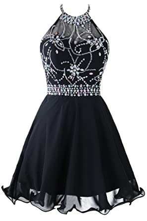 Topdress Womens Short Beaded Prom Dress Halter Homecoming Dress Backless Black ...
