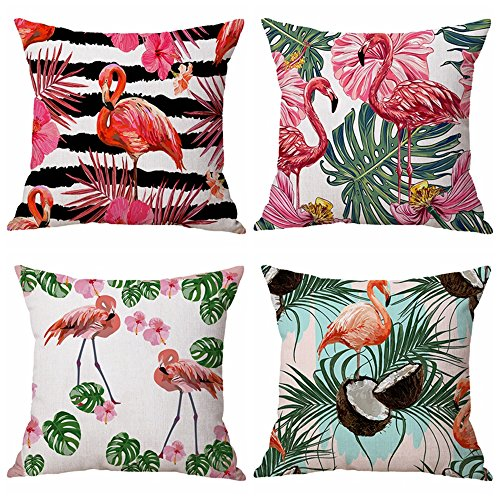(Steven.Smith Cotton Linen Sofa Home Decor Square Throw Pillow Case Flamingo Pattern&Tropical Flower Leaves Decorative Cushion Cover 18x18 (Flamingo))