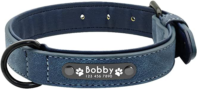 Adebie - Dog Collars Personalized Custom Leather Dog Collar Name ID Tags for Small Medium Large Dogs Pitbull Bulldog Beagle