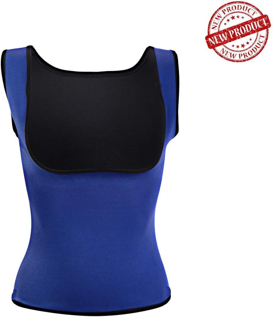 Ducomi Faja Reductora Mujer - Camisetas Sauna Adelgazante - Ajustada para Lograr una Silueta Abdomen Plano - Ideal Mientras se Practica Deporte y en la Vida Cotidiana (L, Azul): Amazon.es: Deportes y