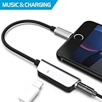 Headphone Adapter for iPhone Adapter Charger Adapter 3.5mm Jack Dongle Earphone Aux Audio & Charge Compatible for iPhone X/XS/XS MAX/XR/8/8 Plus Support to Music and Charge Suitable for iOS 12 System