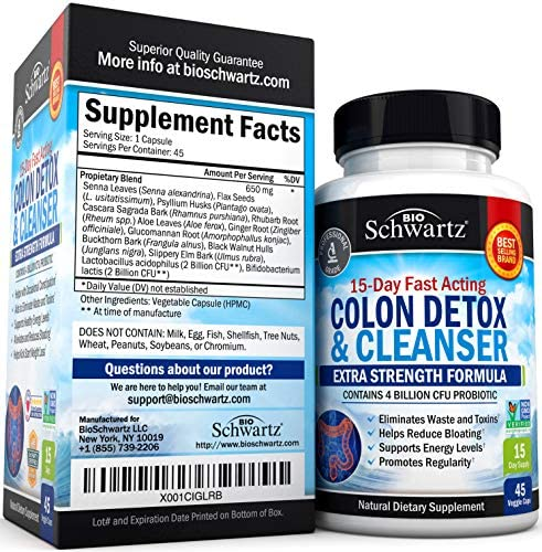 Colon Cleanser & Detox for Weight Loss. 15 Day Extra Strength Detox Cleanse with Probiotic for Constipation Relief. Pure Colon Detox Pills for Men & Women. Flush Toxins, Boost Energy. Safe & Effective 3