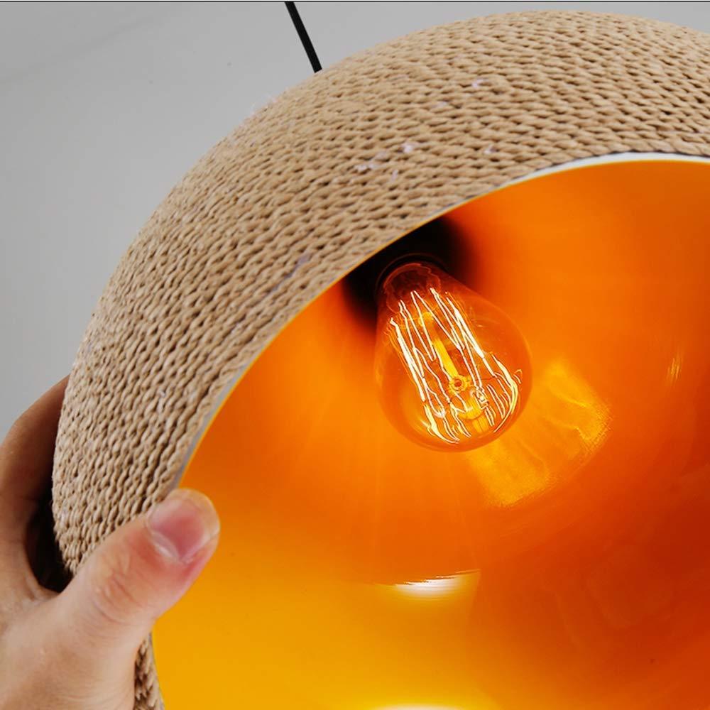 Maison de campagne suspension E27 fait de corde de chanvre et daluminium hauteur r/églable diam/ètre 36 cm r/étro ronde salon lampe salle /à manger lampe pendentif lumi/ères int/érieur or-couleur