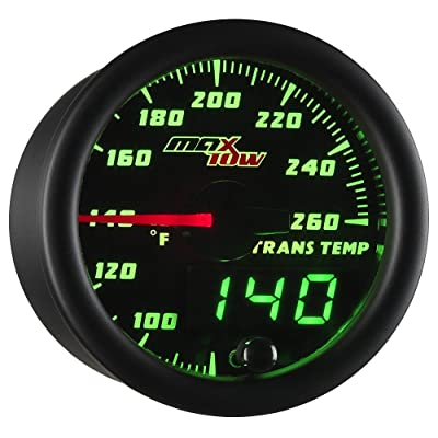 "MaxTow Double Vision 260 F Transmission Temperature Gauge Kit - Includes Electronic Sensor - Black Gauge Face - Green LED Illuminated Dial - Analog & Digital Readouts - for Trucks - 2-1/16"" 52mm: Automotive"