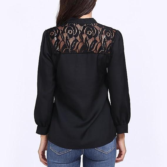Rakkiss - Blusa de manga larga para mujer, diseño de encaje con ...