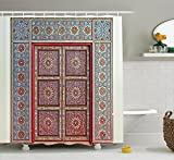 Ambesonne Moroccan Decor Collection, A Magnificent Moroccan Traditional Ancient Door Gate Brass Historic Handicraft Image, Polyester Fabric Bathroom Shower Curtain Set with Hooks, Blue Coral