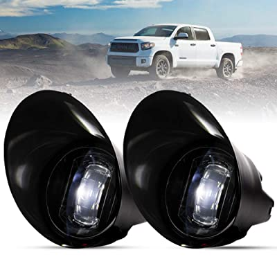 FieryRed Fog Light with Cree LED Bulbs For Tundra 2007-2013,Sequoia 2008-2011,100% OEM Bumper Driving Fog Light Clear Lens,IP68 Waterproof: Automotive