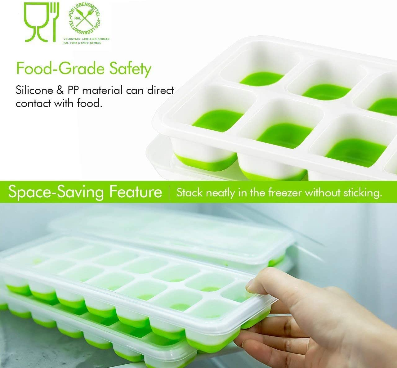 Ice Cube Tray with Lid, Easy-Release and Flexible 14-Ice Trays ...