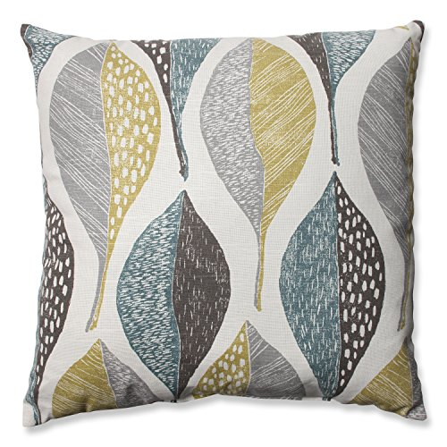 Pillow Perfect Woodblock Leaf Rain Throw Pillow, 18-Inch