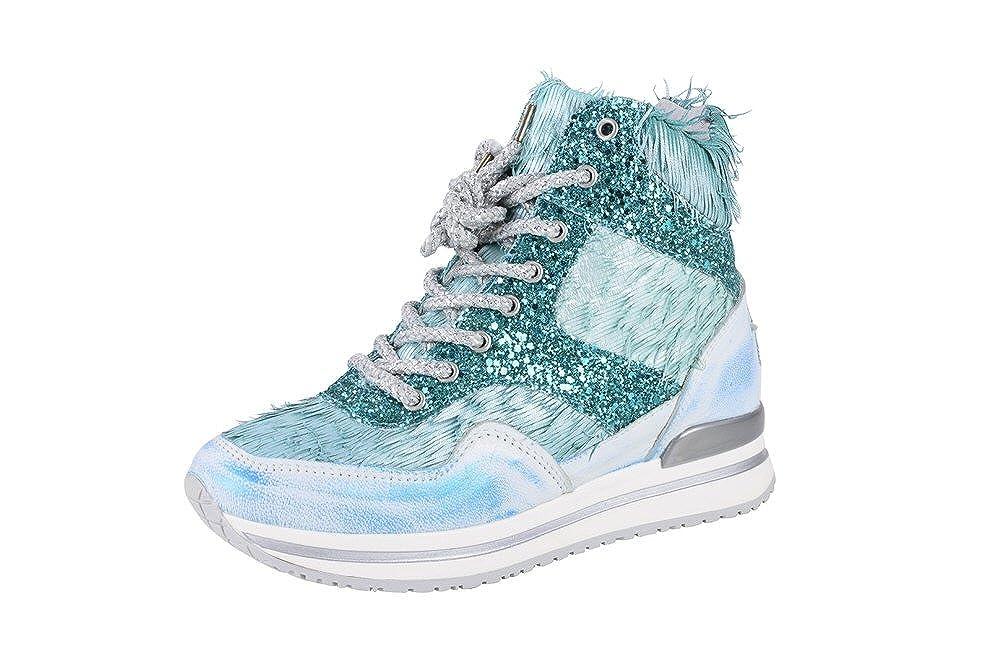 2Star Gold Schuhe Damen Türkis Blau Grün Leder Turnschuhe 36