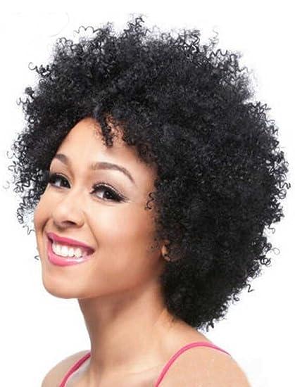 falamka Fashion corto rizado afro negro Color Fibra Kanekalon peluca de pelo plena de las mujeres