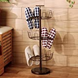 European style iron shoe rack floor vertical multi-storey shoe rack simple slippers rack shoe rack rotary storage shelf-A