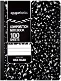 AmazonBasics Wide Ruled Composition Notebook, 100-Sheet, Marble Black, 12-Pack