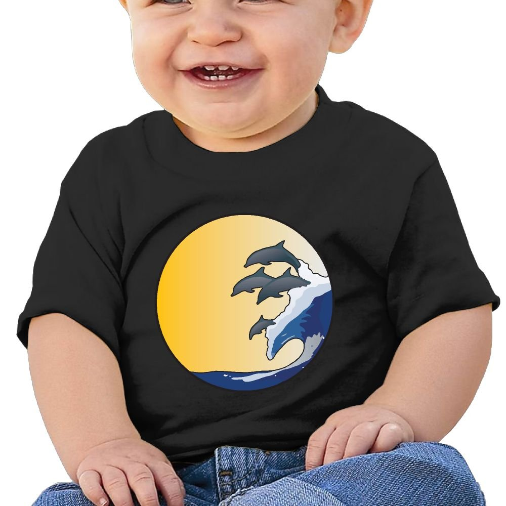 Dolphins Riding Wave Cotton Short Sleeve T Shirts for Baby Toddler Infant