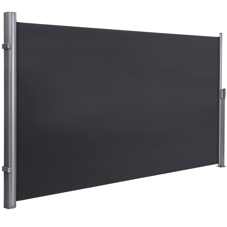 SONGMICS 180 x 350 cm (H x L), Seitenmarkise für Balkon und Terrasse, Sichtschutz, Sonnenschutz, Seitenrollo, rauchgrau, GSA185G