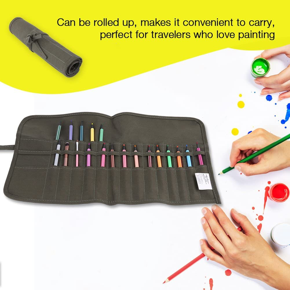 22 Holes Roll Up Canvas Paint Brush Bag Artist Draw Pen Watercolor Oil Brushes Case for Travel Art Supply ZJchao Paint Brush Bag