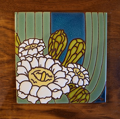 6x6 Hand Glazed Saguaro Cactus Bloom Tile