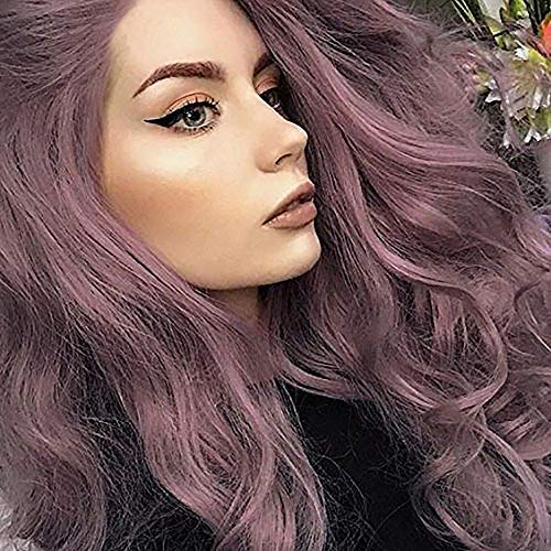 ple Lace Front Wig for Women Synthetic Long Wavy Wig Glueless Lavender Purple Wigs for Girls Heat Resistant Fiber ()