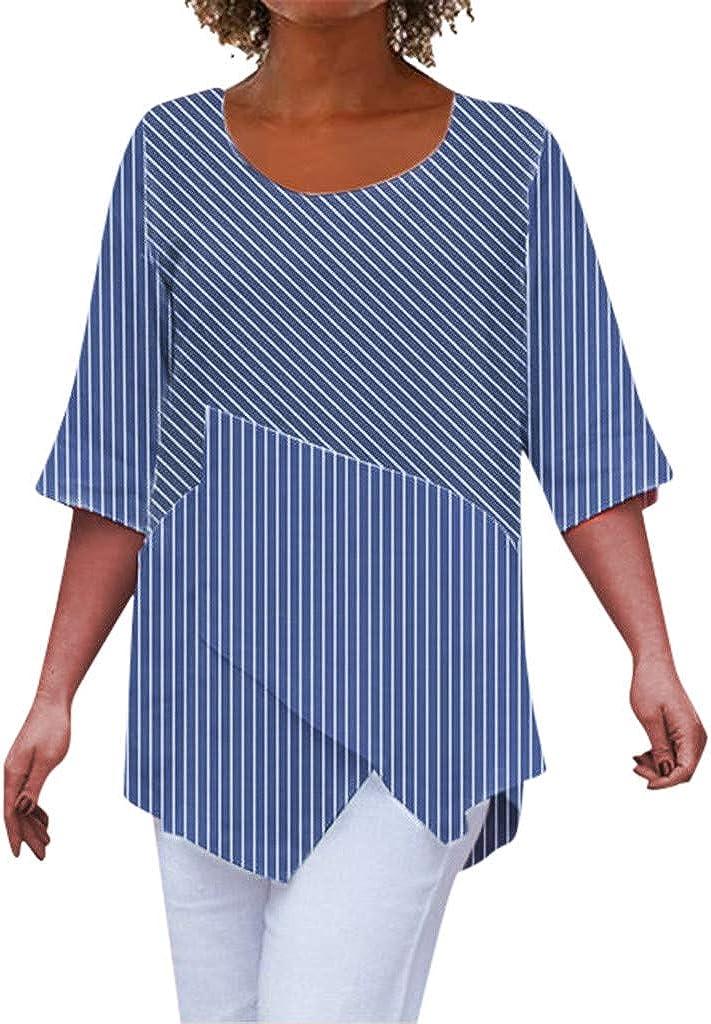 VEMOW Blusas Moda de Manga Media con Estampado de Rayas O-Cuello Irregulares de Moda cómoda para Mujer Primavera Shirts Camisetas T-Shirt: Amazon.es: Ropa y accesorios