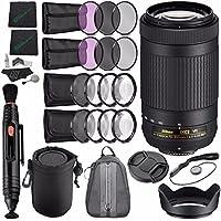 Nikon AF-P DX NIKKOR 70-300mm f/4.5-6.3G ED VR Lens + 58mm 3 Piece Filter Set (UV, CPL, FL) + LENS CAP 58MM + 58mm Lens Hood + Lens Pen Cleaner + Cleaning Cloth + Lens Cap + SLR Lens Pouch Bundle