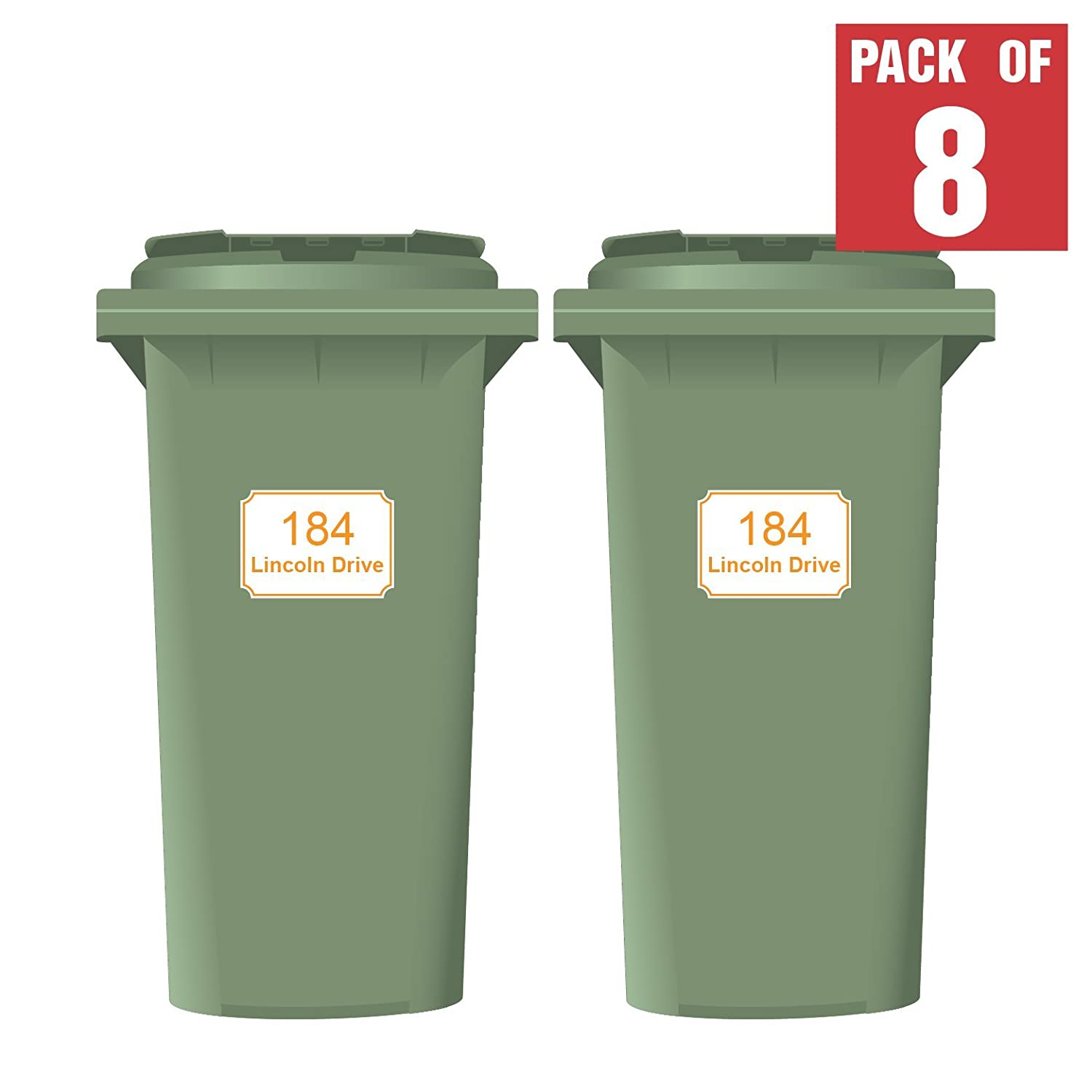 Wheelie Bin Custom Printed Numbers Classic Style A4 Size Pack of 4 Brown MyWheelieBin
