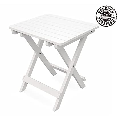Songsen Fashion Outdoor Wood Adirondack Fold Side Table Patio Deck Garden  Furniture (Adult,White