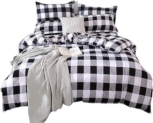Amazon Com Tealp Buffalo Plaid Bedding Set Queen Size Farmhouse Duvet Cover Set No Comforter No Bed Sheet Queen Black And White Kitchen Dining