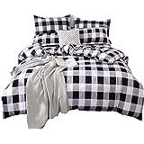 TEALP Buffalo Plaid Bedding Set Queen Size Farmhouse Duvet Cover Set No Comforter No Bed Sheet, Queen, Black and White