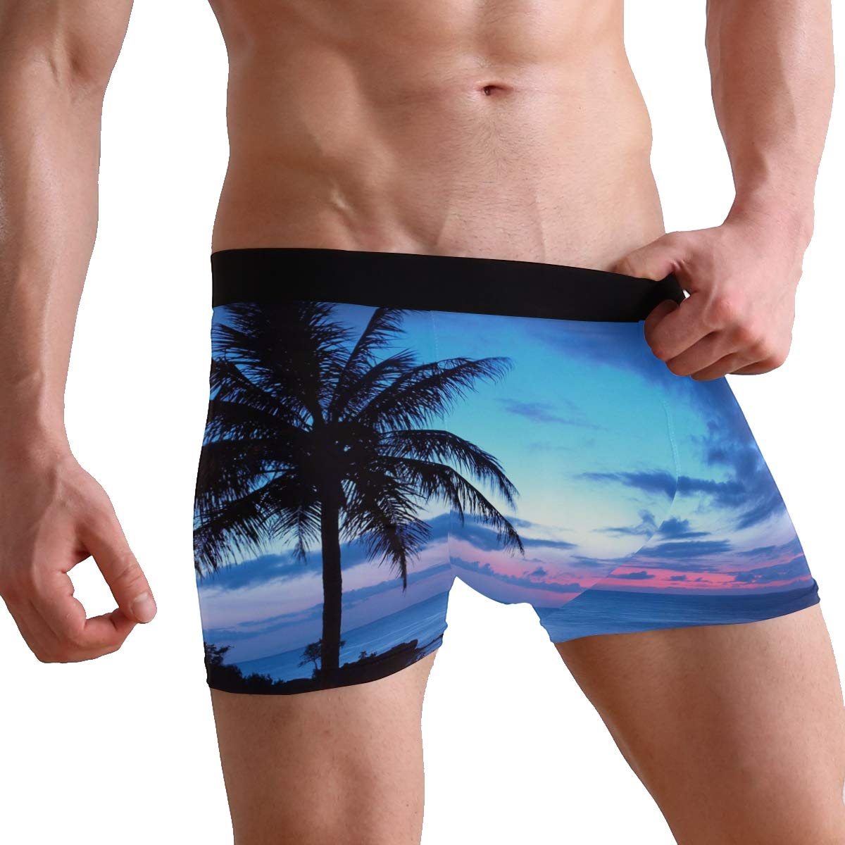 S-XL Abbylife Beach Palm Tree Mens Underwear Boxer Breathable Underpants Briefs
