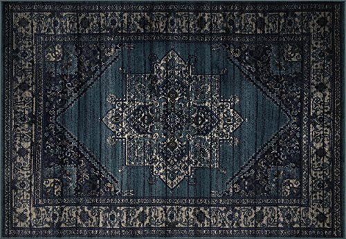 Cheap The Cloud Rugs Paradise Collection, Oriental Navy, Beige, Dark Blue, Geometric Area Rug, 5′ 1″ x 7′