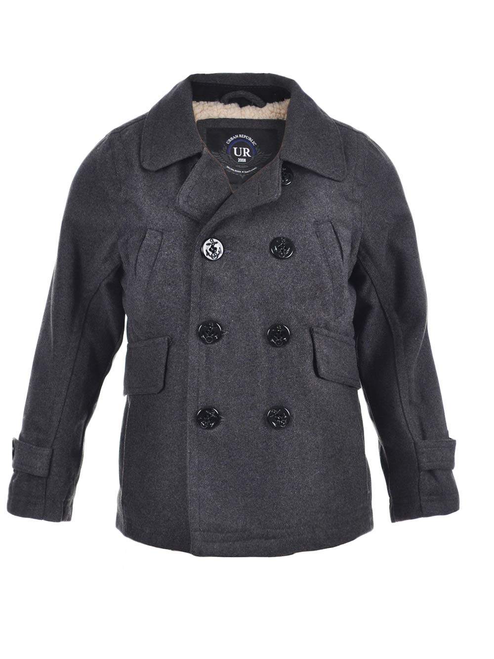 Urban Republic Little Boys' Toddler Wool Peacoat - Charcoal Gray, 3t